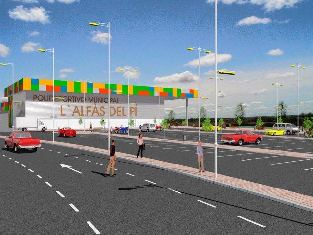 Infografía del polideportivo L'Alfas del Pí en Almería. Vista principal izquierda.