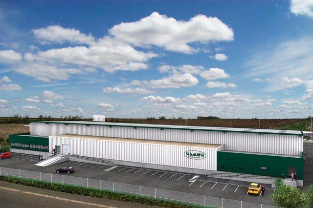 Infografía nave industrial Olano. Vista trasera acceso oficinas.