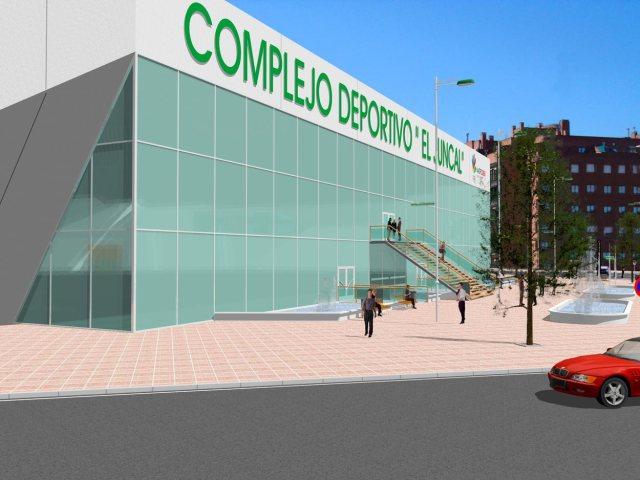 Propuesta de infografía del Complejo deportivo el Juncal en Torrejón de Ardoz. Vista acceso principal.