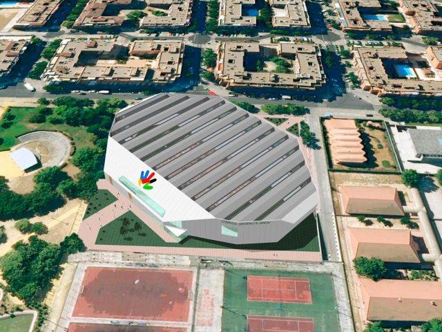 Propuesta de infografía del Complejo deportivo el Juncal en Torrejón de Ardoz. Vista Aérea. pistas