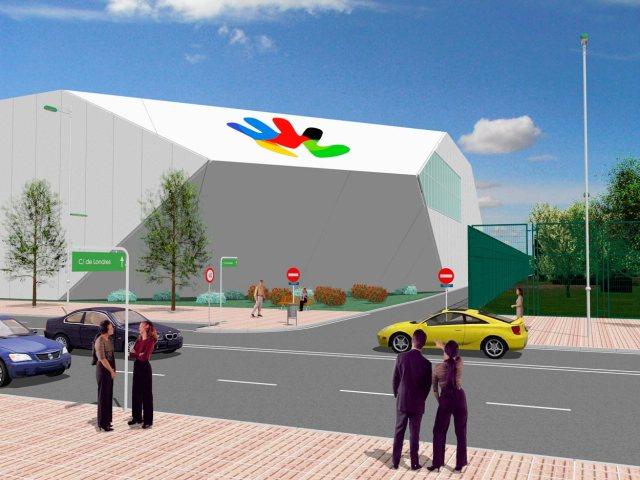 Propuesta de infografía del Complejo deportivo el Juncal en Torrejón de Ardoz. Vista desde calle Londres derecha