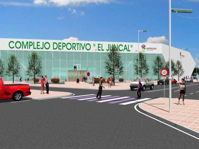 Propuesta de infografía del Complejo deportivo el Juncal en Torrejón de Ardoz. Vista desde calle Londres frontal.