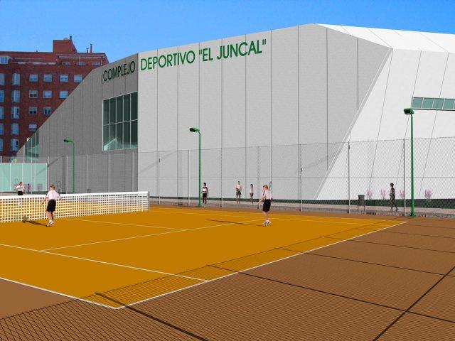 Propuesta de infografía del Complejo deportivo el Juncal en Torrejón de Ardoz. Vista trasera derecha.